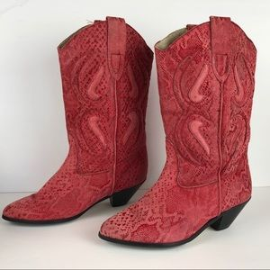 VINTAGE | Western Cowboy Cowgirl Rodeo Red Boots